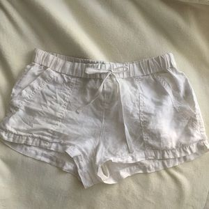 {joie} white linen shorts